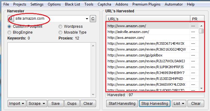 ScrapeBox, הצגת דפי האתר לצורך SEO